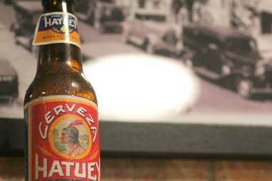 Hatuey Cuban Style Lager at Mansini's Pizza House
