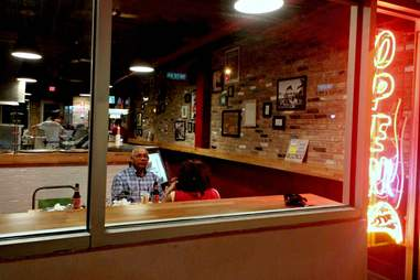 Looking in at Mansini's Pizza House