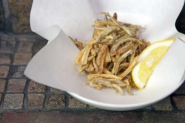 crispy ikanago and burdock at Izakaya Den