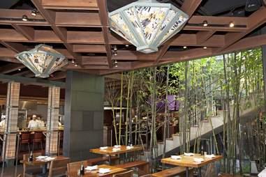 bamboo in the dining room at Izakaya Den