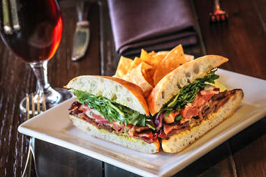 Bruschetta BLT Sandwich at Stone Brewing World Bistro & Gardens - Liberty Station in San Diego.