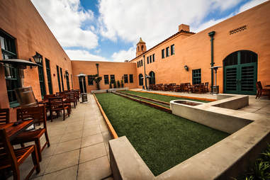 Bocce Ball Courts at Stone Brewing World Bistro & Gardens - Liberty Station in San Diego.