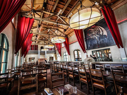 Dining room at Stone Brewing World Bistro & Gardens - Liberty Station in San Diego.