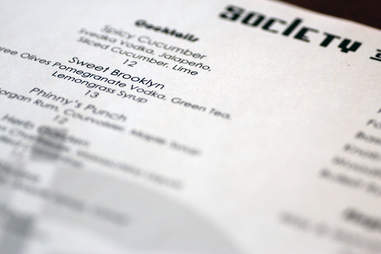 Cocktail menu at Society on High