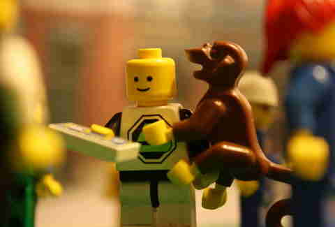 lego person with lego dog