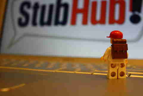 lego person in front of StubHub sign