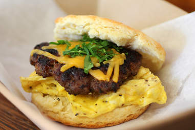 Biscuit sandwich at Smalls BBQ in Irving Park