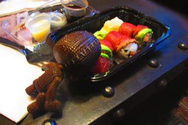 Sackboy with sushi