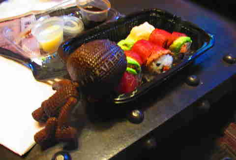 Sackboy with sushi