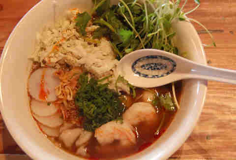Seafood noodle bowl at Yuboka at Revel in Atlantic City