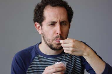 guy eating ice cream at Sweet Action Ice Cream