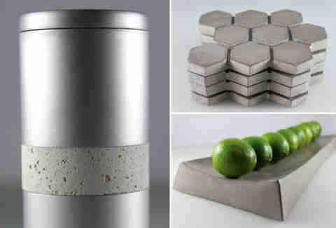 concrete pepper mill, tray, and coasters