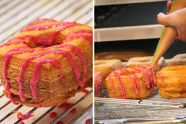 Cro-Bars with a raspberry glaze at Donut Bar in San Diego.