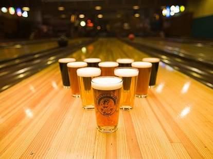 Beer bowling pins at Bryant Lake Bowl