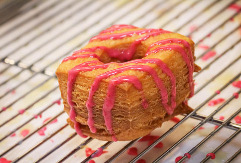 Raspberry glazed Cro-Bar at Donut Bar in San Diego.