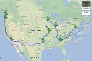 SPAM roadtrip map