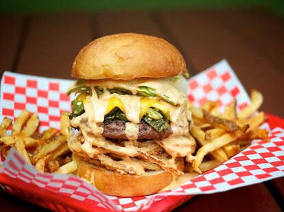 Foster Burger cheeseburger and fries