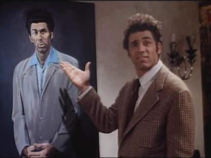 Kramer admiring a painting of himself