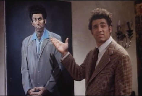 Kramer admiring a painting of himself