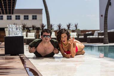 Rio Rooftop pool waitress and Dan Gentile