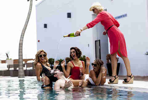 Rio Rooftop pool waitress champagne