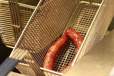 Deep frying hot dogs with Vitaly Paley.