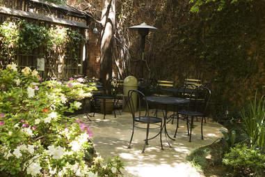 Garden seating at Arlequin Cafe