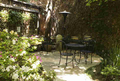 Garden seating at Arlequin Cafe