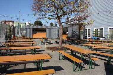 Outdoor seating at Biergarten