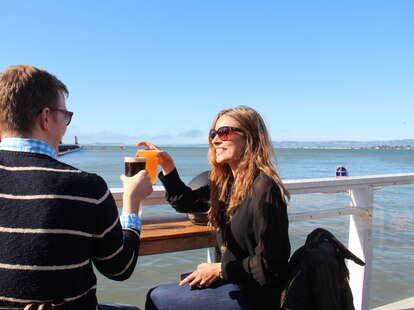 Beautiful people enjoying outdoor beers