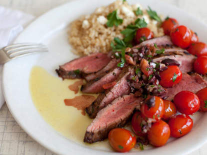 Sliced beef and tomato salad from Plated