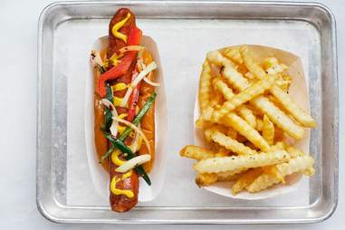 Hot dogs at Mutts Canine Cantina, Dallas TX