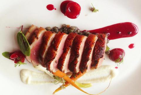 Duck breast with cherry gastrique