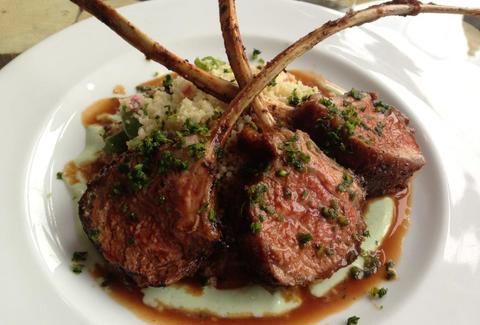 Oven Roasted Colorado Lamb Rack with Fava Bean Cous