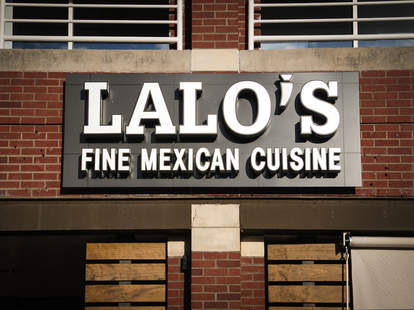 Exterior shot of Lalo's Fine Mexican Cuisine sign