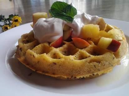 Gluten free waffle w/ bananas, apples, flax & vegan yogurt!