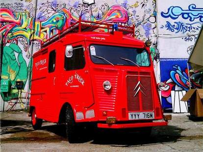 Taco truck at truck stop london