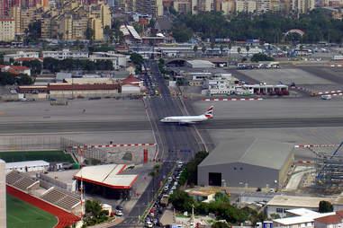 plane taking off at gibralter