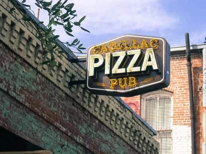 Exterior shot of the sign at Cadillac Pizza Pub