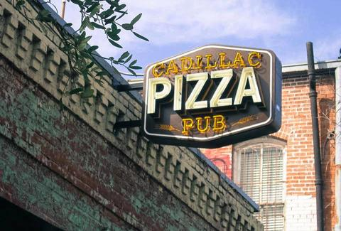 Exterior shot of the sign at Cadillac Pizza Pub