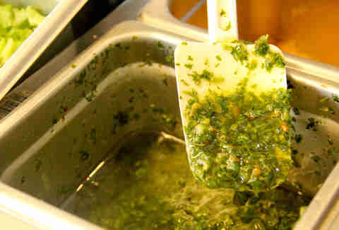 The homemade chimichurri sauce from the Braz BQ Truck