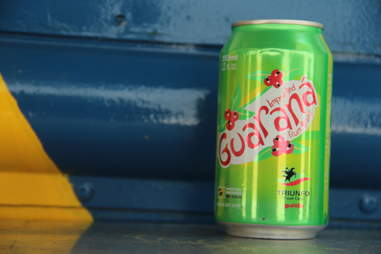 A can of Guarana berry soda from the Braz BQ Truck