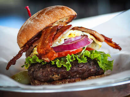 The Stuffed Burger at Wonderland Ocean Pub in Ocean Beach San Diego.