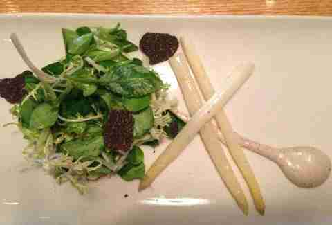 Salad with truffle, radish and white asparagus