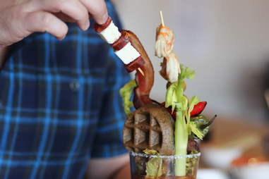 prosciutto and manchego skewer in Ultimate Bullseye Bloody at Kachina