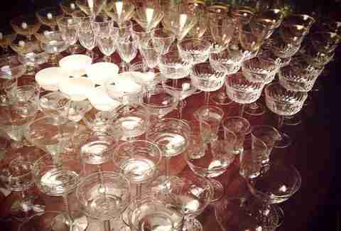 Specialty crystal glassware on a table top.