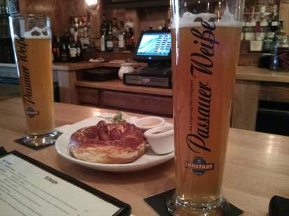 Large beer and a pretzel