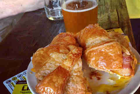 breakfast sandwich and beer at Randolph Beer