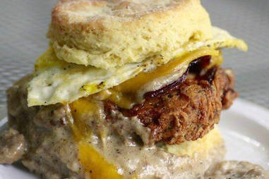 gravy chicken biscuit at Pine State Biscuits