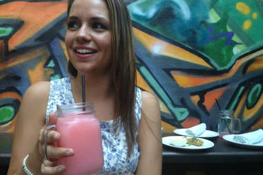pink swedish fish vodka slushie at graffiti bar
